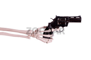 gun in skeleton hand