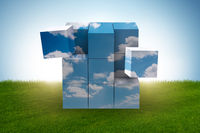 Cube made of cloud shapes - 3d rendering