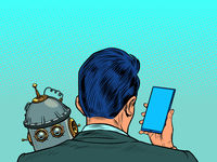 Robot and human are sad. A businessman looks at a smartphone
