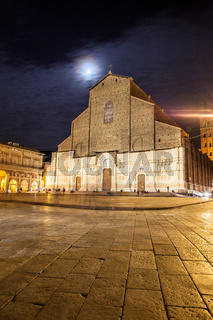 San Petronio Basilica in Bologna at moonlit night