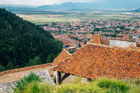 Rasnov Fortress and old town view in Rasnov, Romania