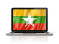 Burma Myanmar flag on laptop screen isolated on white. 3D illustration