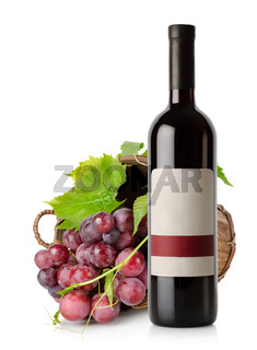 Wine bottle and grape in basket