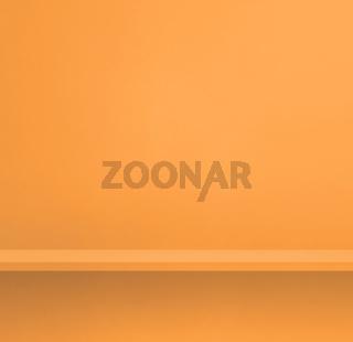 Empty shelf on light orange wall. Background template. Square banner