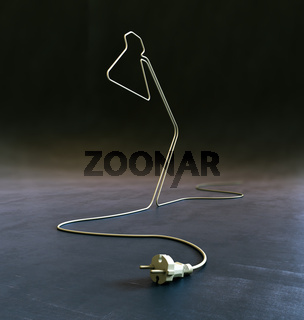 lamp shaped electric cord - energy and creativity concept