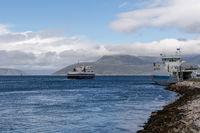 ferries leaving the Bogenes ferry landing for the Lofoten Islands in northern Norway