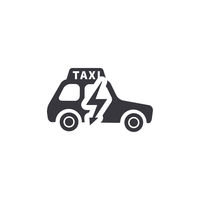 Electric taxi, side view silhouette, simple black icon on white