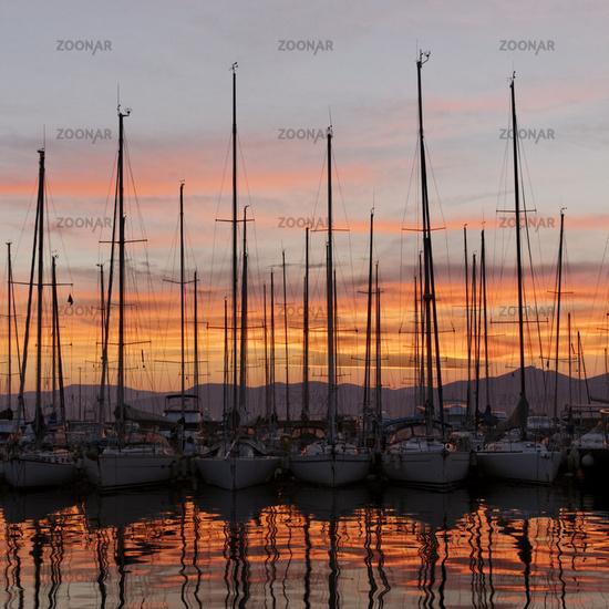 Saint Tropez, sailing masts, Cote d'Azur, Provence