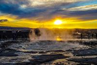 Geysir geyser and sunrise (Iceland)
