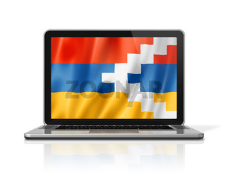 Nagorno-Karabakh flag on laptop screen isolated on white. 3D illustration