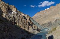Phugtal Monastery high above the Tsarab river in Ladakh