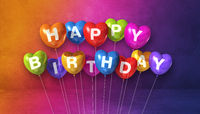 Colorful happy birthday heart shape air balloons on a rainbow background scene. Horizontal Banner