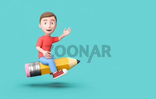 Kid 3D Cartoon Character Flying on a Funny Pencil on Blue with Copy Space