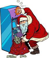 ATM pours out money, Santa Claus gets a Christmas holiday bonus