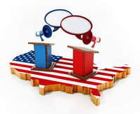 Blue and red lecterns standing on USA map. 3D illustration