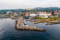 Drone View of Sandvig village on Bornholm, Denmark