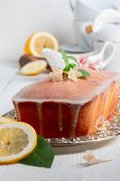 Traditional lemon cake with icing.