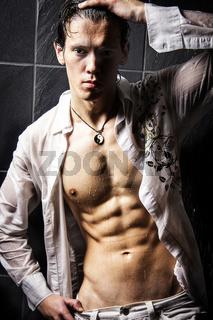 Man under Shower White