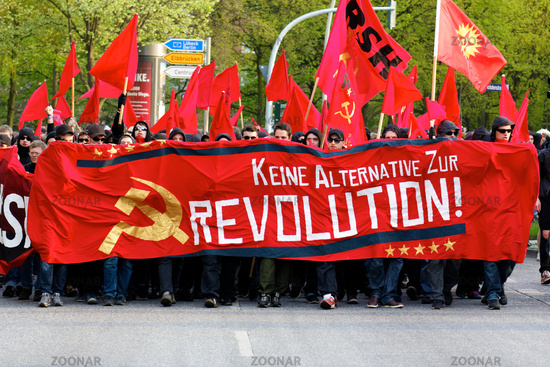 Protesters on May Day 2012 in Hamburg