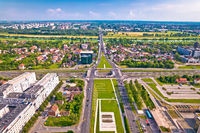 Aerial view of Zagreb and Sava river near fountains square