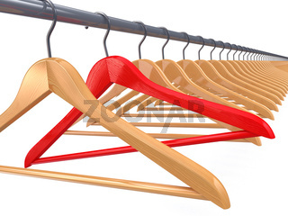 Clothes hangers on white isolated  background. 3d