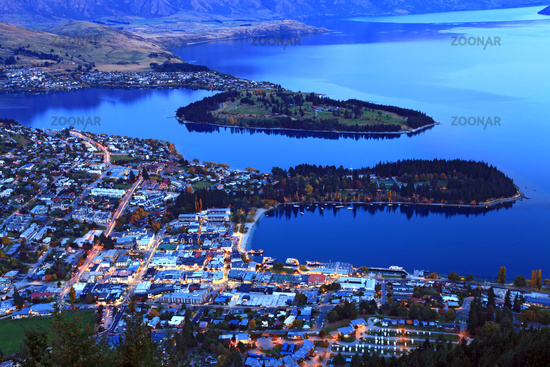 queenstown downtown at dusk