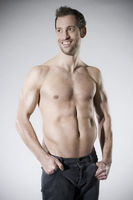 Athletic man with bare chest