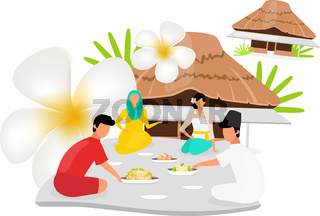 Indonesians flat vector illustration. Muslim woman. Friends sit nearby. Picnic near hut. Asian culture. People dressed in national clothing isolated cartoon character on white background
