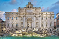 Magnificent Trevi Fountain from the Rococo period in Rome, Italy