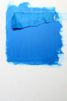 Blue paint and sheet of paper   Background