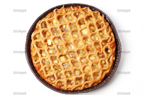 Delicious apple pie on white background