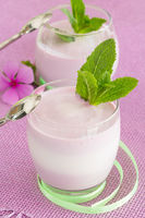 Two yogurt dessert on pink background, with spoon,s green ribbon and fresh mint decoration
