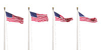 four flags of the USA isolated on white sky background