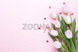 Pink tulips bouquet and hearts