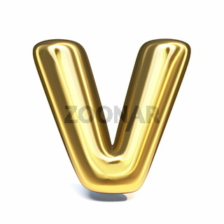 Golden font Letter V 3D