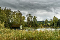 Lonely hut in idyllic landscape on Nussbaumer See in the canton of Thurgau in Switzerland
