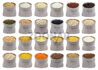Collection of different cereals, grains and flakes in bags isolated on white background.