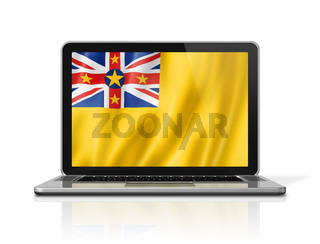 Niue flag on laptop screen isolated on white. 3D illustration