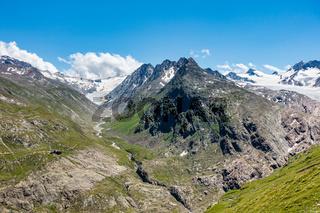 Langtalereckhütte und Langtaler Ferner (links), Rechts der Gurgler Ferner, Ötztal, Tirol, Österreich