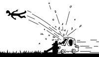 Car Crash Driver Flying Line Cartoon