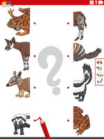 match halves of pictures with cartoon animals educational game