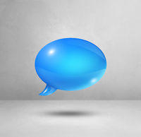 Blue speech bubble on white square background
