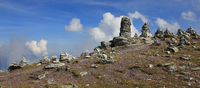 Stone cairns in the Swiss Alps.