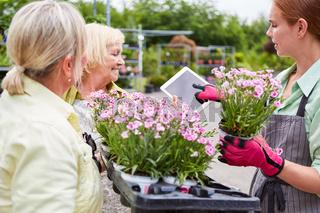 Gärtnerei Team mit Tablet für eine Blumen Bestellung