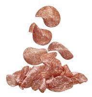 Sliced salami sausage isolated on white background