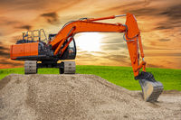 excavator at work on construction site