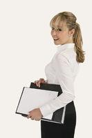 Blonde secretary with files