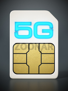 5g SIM card on gray background. 3D illustration