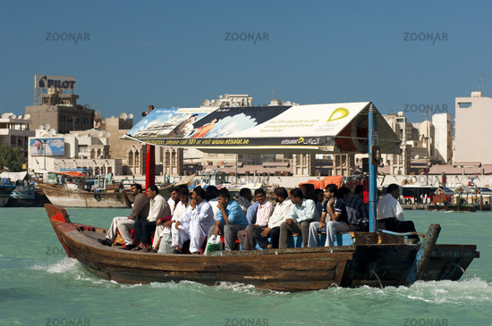 Abra water taxi  crisscrossing the Dubai Creek