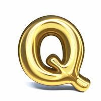 Golden font Letter Q 3D